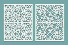Mueren y los paneles escénicos cortados laser con el modelo de los copos de nieve El laser que corta el cordón decorativo confina stock de ilustración