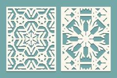 Mueren y los paneles ornamentales cortados laser con el modelo de los copos de nieve El laser que corta el cordón decorativo conf libre illustration