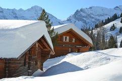 Muerren, Zwitserse het ski?en toevlucht Stock Foto