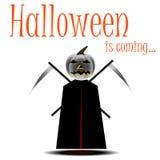 Muerte con el traje de la guadaña para Halloween stock de ilustración