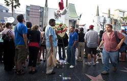 Muerte de Michael Jackson de la premier de la película de Bruno imagenes de archivo