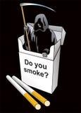 Muerte dentro de un paquete del cigarrillo Fotos de archivo