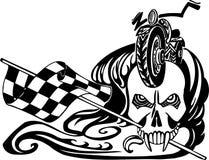Muerte y bandera a cuadros. Ejemplo del vector. Foto de archivo libre de regalías