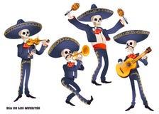 muertos de dia Музыкант диапазона Mariachi скелетов Мексиканская традиция Стоковые Фотографии RF