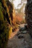 Muesca de la piedra arenisca en la puesta del sol Fotografía de archivo