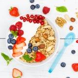 Muesli早餐水果酸牛奶草莓谷物莓果squa 库存照片