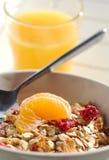 Muesli早餐用橙汁 库存图片
