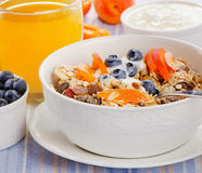 Muesli用酸奶和莓果 传统健康早餐 免版税库存图片