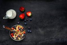 Muesli με το διάστημα γάλακτος και αντιγράφων Στοκ φωτογραφίες με δικαίωμα ελεύθερης χρήσης