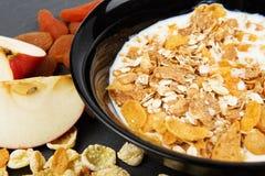 Muesli, гайки, плодоовощи, молоко и овсяная каша для завтрака Стоковая Фотография RF