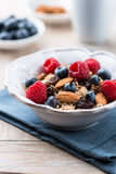 Muesli с свежими фруктами и миндалинами Стоковая Фотография
