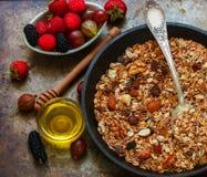 自创格兰诺拉麦片用葡萄干、核桃、杏仁和榛子 Muesli和蜂蜜 免版税库存照片