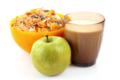 Muesli, apple and milk isolated Royalty Free Stock Image