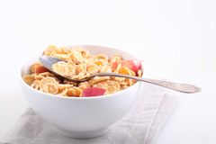 Muesli with Apple slices, a useful breakfast Royalty Free Stock Photo