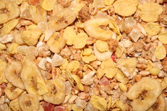 Muesli background. A muesli with banana, corn, strawberry and other ingredients from up. Ideal for background Royalty Free Stock Image