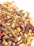 Muesli background  for aging  horse. Stock Photo
