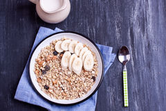 Muesli with banana Royalty Free Stock Photo