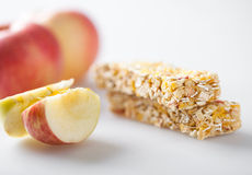 Muesli bar with apple piece Stock Image