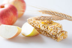 Muesli bar with apple piece Royalty Free Stock Photo
