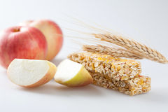 Muesli bar with apple piece Royalty Free Stock Photography