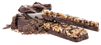 Muesli bar with Chocolate pieces on white Royalty Free Stock Image