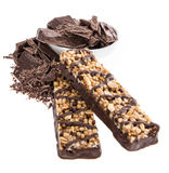 Muesli bar with Chocolate pieces on white Stock Image