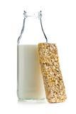 Muesli bar and milk Stock Image