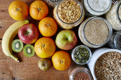 Muesli bar variety of cereal and fruits Stock Images