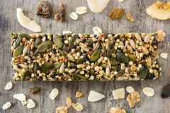 Muesli bar on wooden table. Top view Royalty Free Stock Image