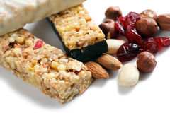Muesli bars. And nuts and dried fruits Royalty Free Stock Image