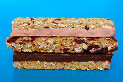 Muesli bars. Chocolate,cherry and plain Stock Image