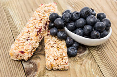 Muesli Bars with Blueberries in a bowl Royalty Free Stock Photos