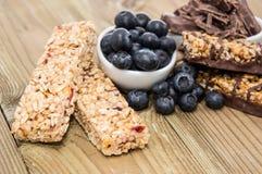 Muesli Bars with Blueberries and Chocolate Stock Image