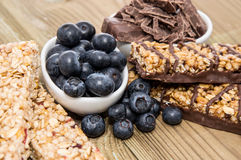 Muesli Bars with Blueberries and Chocolate Royalty Free Stock Image