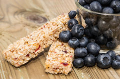 Muesli Bars with Blueberries in a glass Royalty Free Stock Photos