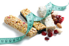Muesli bars with measuring tape Stock Photo