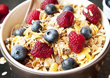 Muesli with Berries for Breakfast Stock Photography