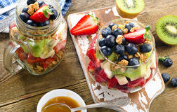 Muesli and berries for healthy diet breakfast Royalty Free Stock Photos
