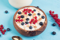 Muesli with berries and milk Stock Photography