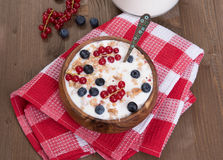 Muesli with berries and milk Royalty Free Stock Images