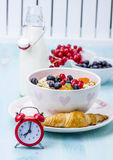 muesli with berries and milk royalty free stock photography