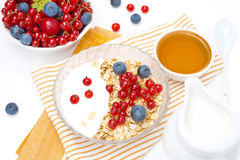 Muesli with berries, yogurt, honey and milk Royalty Free Stock Photos