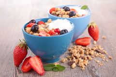 Muesli,berry and dairy Stock Photography