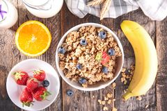 Muesli with berry fruit Royalty Free Stock Images