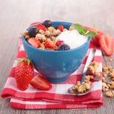 Muesli,berry and yogurt Stock Photography