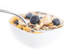 Muesli with Blueberries on a spoon Stock Photography