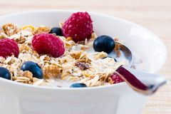 muesli blueberry maliny Obrazy Stock