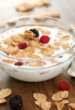 Muesli with blueberry and raspberry Royalty Free Stock Images