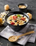 Muesli on bowl for breafast Royalty Free Stock Photo