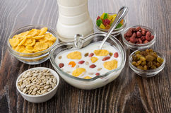 Muesli in bowl, different ingredients, yogurt in bottle Royalty Free Stock Images